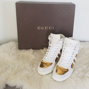 Gucci Shoes | Gucci Gold And White High